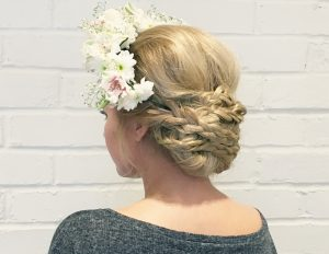 The Berkshire up-do with fresh floral headdress.