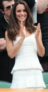 Kate Middleton in a white pleated dress at Wimbledon.